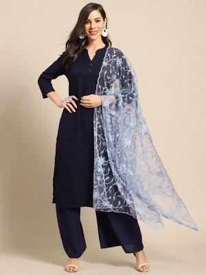 Saadgi Women Ice Blue Net Aari Embroidery Dupatta