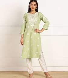 Green embroidered cotton cotton-kurtis