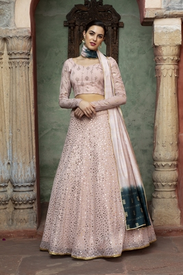 Dusty Pink fancy sequins embroidered Georgette semi stitched lehenga