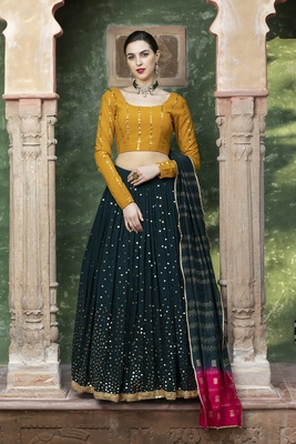 Dark green fancy sequins embroidered Georgette semi stitched lehenga