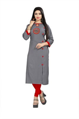 Women's Rayon Front Cut Plain Readymade Kurti