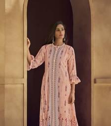 Angarika Peach Color  Silk blend Bollywood Gown