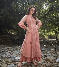 Angarika Peach Color  Soft Silk Bollywood Gown