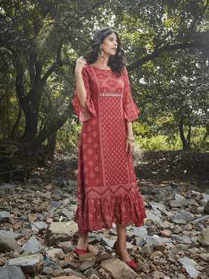 Angarika Brwon Color  Rayon Bollywood Gown
