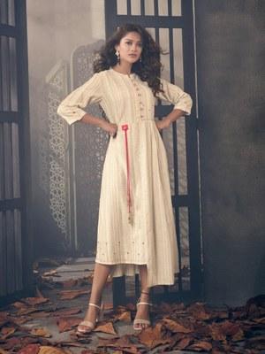 Angarika Cream Color Rayon Bollywood Kurti