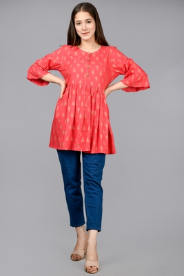 pink Aurish kurti