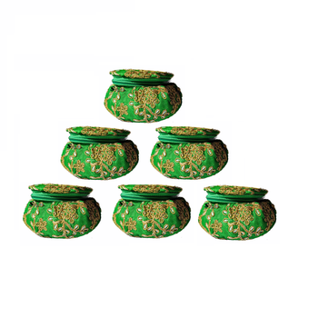 Shoptory India Embroidered Decorative Box for wedding Cum Bangle Box, Shagun Gift Packing Potli Green, Pack of 6