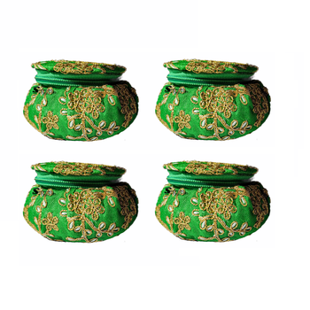 Shoptory India Embroidered Decorative Box for wedding Cum Bangle Box, Shagun Gift Packing Potli Green, Pack of 4