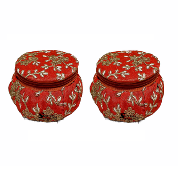 Shoptory India Embroidered Decorative Box for wedding Cum Bangle Box, Shagun Gift Packing Potli Orange, Pack of 2