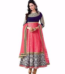 Buy Blue and pink embroidered georgette semi stitched salwar with dupatta party-wear-salwar-kameez online