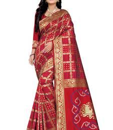 Red Bandhani Zari Work Banarasi Silk Saree With Blouse