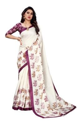 Purple printed khadi saree with blouse
