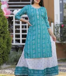 Designer Printed Rayon A-Line Kurti With Skirt Set For Womens