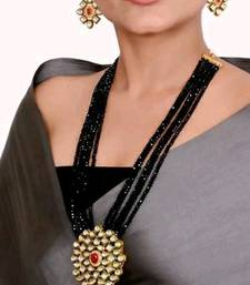 Gold Plated AD Kundan Pendant Black Layered Necklace  Set and matching Earrings for Women and Girls.