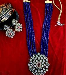Gold Plated AD Kundan Pendant Blue Layered Necklace  Set and matching Earrings for Women and Girls.