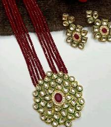 Gold Plated AD Kundan Pendant Maroon Layered Necklace  Set and matching Earrings for Women and Girls.