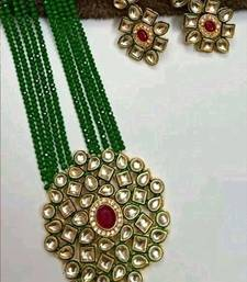 Gold Plated AD Kundan Pendant Green Layered Necklace  Set and matching Earrings for Women and Girls.