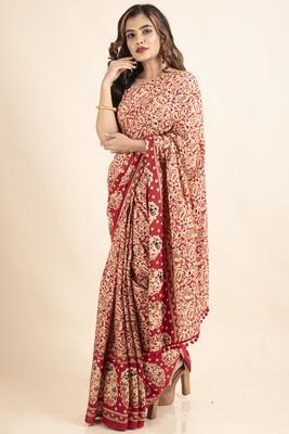 Red Pure Cotton Paisley Kalamkari Pompom Saree