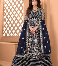 Neavy Blue Soft Net Gwon Style Suit with Heavy Embroidey and Rich Look