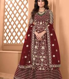 Maroon  Soft Net Gwon Style Suit with Heavy Embroidey and Rich Look