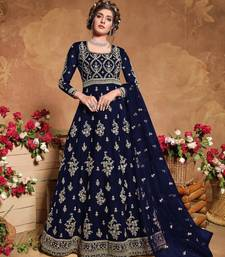 Blue Soft Net Anarkali Gwon Style Suit with Heavy Embroidey and Rich Look