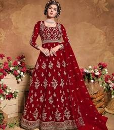 Red Soft Net Anarkali Gwon Style Suit with Heavy Embroidey and Rich Look