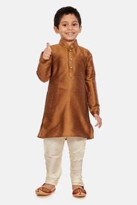 Copper plain cotton silk boys-kurta-pyjama