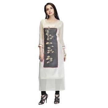 Cream embroidered silk long-kurtis