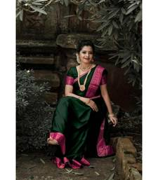 Dark green jacquard Border Saree With Seprate Blouse