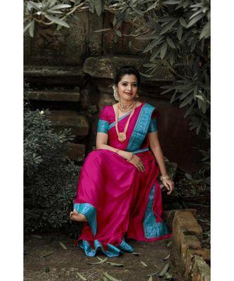 pink jacquard Border Saree With Seprate Blouse