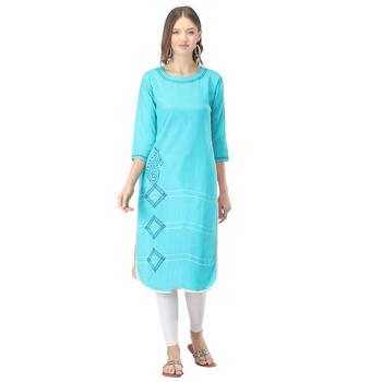 Turquoise printed cotton long-kurtis