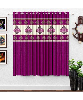A Wine Printed Polyester Punching Window Curtain