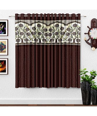 A Brown Printed Polyester Punching Window Curtain