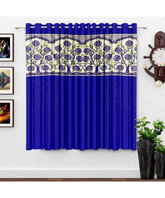 A Blue Printed Polyester Punching Window Curtain