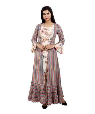 Multicolor printed cotton long-kurtis