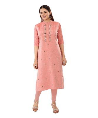Pink embroidered chanderi long-kurtis