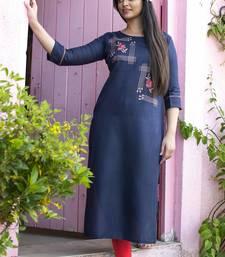 Navy blue embroidered cotton silk embroidered-kurtis