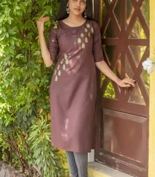 Dark brown embroidered cotton silk embroidered-kurtis