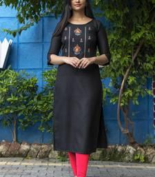 Black embroidered cotton silk embroidered-kurtis