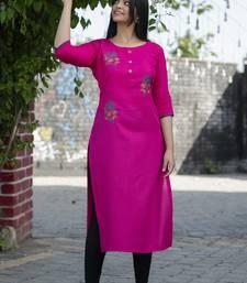 Rani pink embroidered cotton silk embroidered-kurtis