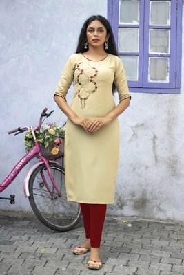 Cream embroidered cotton silk embroidered-kurtis