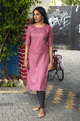 Pink embroidered cotton silk embroidered-kurtis