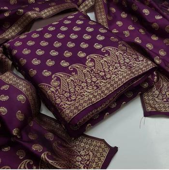 Purple jacquard chanderi salwar