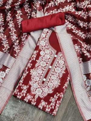 Red jacquard cotton silk salwar
