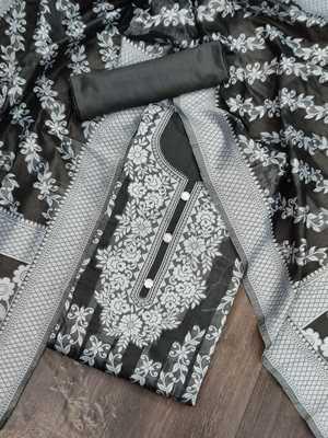 Black jacquard cotton silk salwar