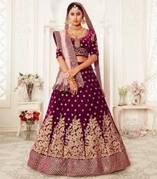 Amazing Purple Velvet Zari Embroidered Heavy Bridal Lehenga Choli with Dupatta