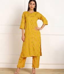 Yellow digital print crepe salwar