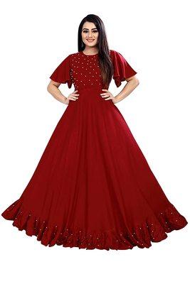 Women's Ruffle Moti Stone Anarkali Maxi Gown