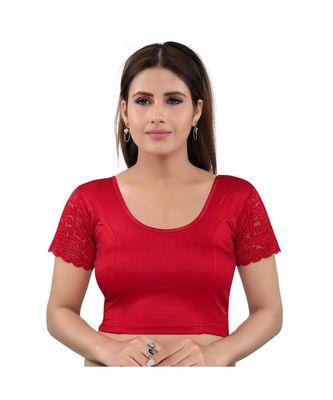 Muhenera Shimmer Stretchable Round Neck Red Blouse