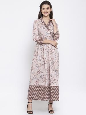 Brown printed cotton maxi-dresses